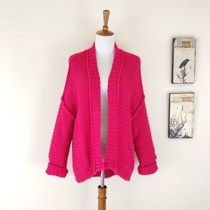ANTHROPOLOGIE MOTH Chunky Knit Cardigan Hot Pink